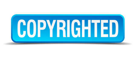copyrighted: copyrighted blue 3d realistic square isolated button