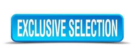 incompatible: exclusive selection blue 3d realistic square isolated button Illustration