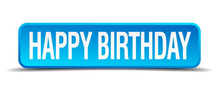 happy birthday blue 3d realistic square isolated button Vector