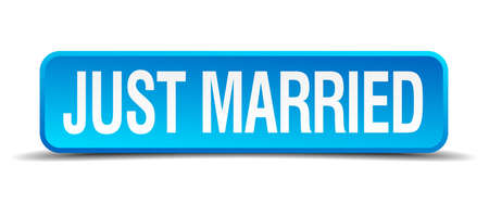 just married blue 3d realistic square isolated button Vector