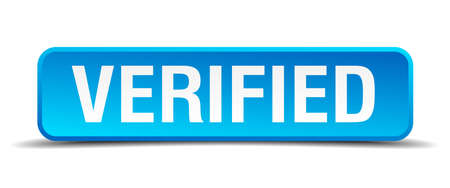acceptation: Verified blue 3d realistic square isolated button Illustration