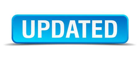 updated: Actualizado bot�n realista 3d cuadrado azul aislado