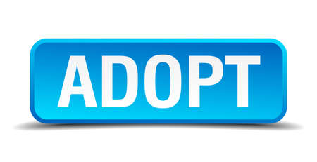 adoptive: Adopt blue 3d realistic square isolated button