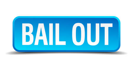 bail: bail out blue 3d realistic square isolated button