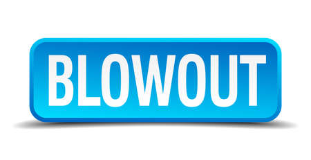 blowout: blowout blue 3d realistic square isolated button Illustration