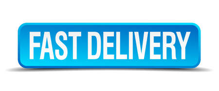 fast delivery: fast delivery blue 3d realistic square isolated button Illustration