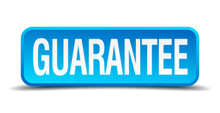 assure: Guarantee blue 3d realistic square isolated button