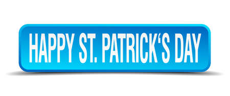 Happy St Patricks day blue 3d realistic square isolated button Vector
