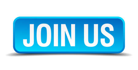 Join us blue 3d realistic square isolated button