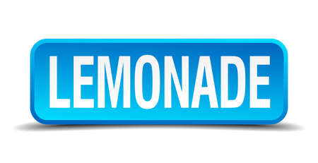 Lemonade blue 3d realistic square isolated button Vector