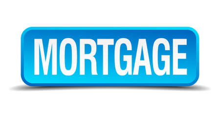 lending: Mortgage blue 3d realistic square isolated button