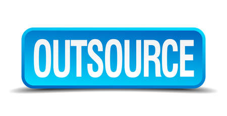 outsource: Outsource blue 3d realistic square isolated button Illustration