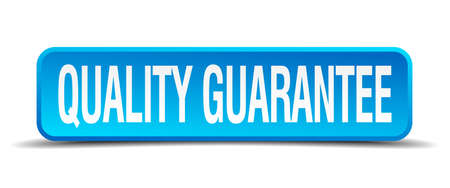 quality guarantee blue 3d realistic square isolated button Vector