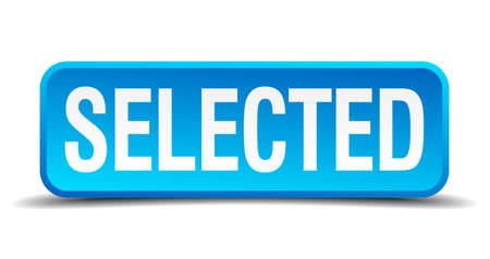 Selected blue 3d realistic square isolated button Vector