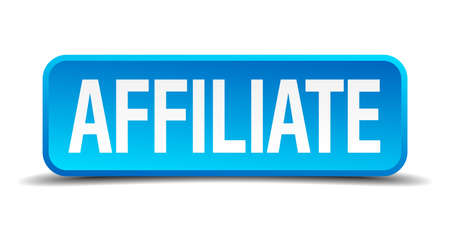 Affiliate blue 3d realistic square isolated button Vector