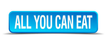 all you can eat blue 3d realistic square isolated button Vector