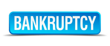 moneyless: bankruptcy blue 3d realistic square isolated button