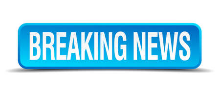 breaking news blue 3d realistic square isolated button Vector