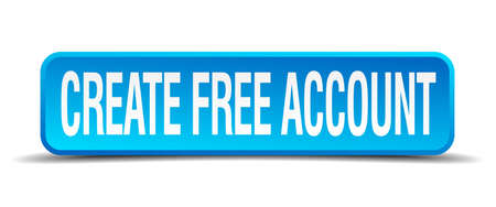 originate: create free account blue 3d realistic square isolated button