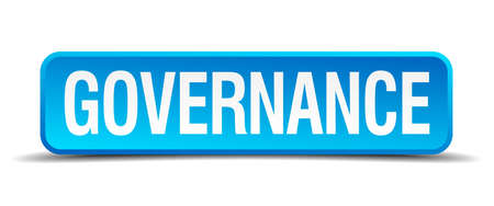 governance: Governance blue 3d realistic square isolated button Illustration