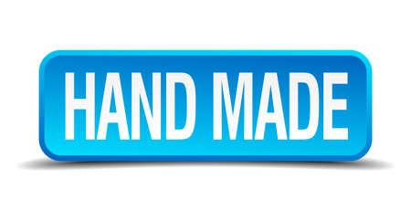 hand made: Mano 3d bot�n azul hecho realista cuadrado aislado