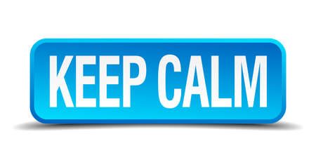 pressurized: Keep calm blue 3d realistic square isolated button