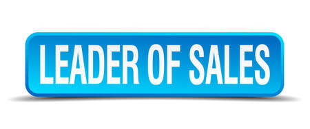 leader of sales blue 3d realistic square isolated button Vector
