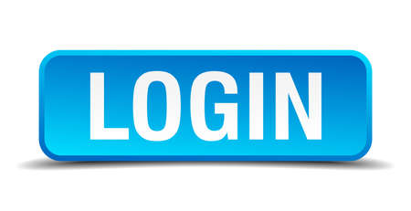 Login blue 3d realistic square isolated button Vector