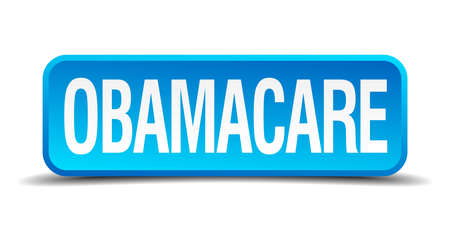 Obamacare blue 3d realistic square isolated button Vector