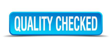 assured: calidad comprobada bot�n azul aislado plaza realista 3d Vectores