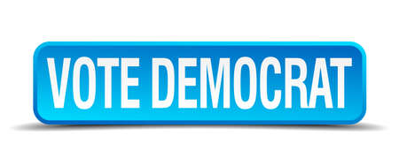democrats: votar 3d bot�n azul dem�crata realista cuadrado aislado