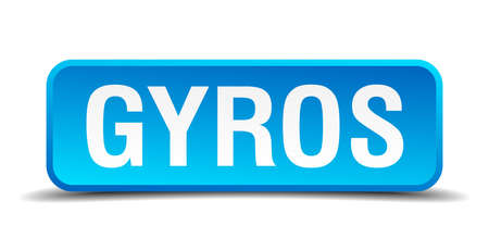 Gyros blue 3d realistic square isolated button Vector