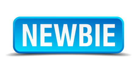 newbie: Newbie blue 3d realistic square isolated button