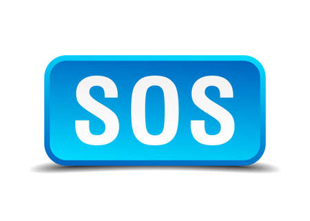 mayday: Sos blue 3d realistic square isolated button Illustration