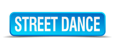 3d dance: Street dance blue 3d realistic square isolated button