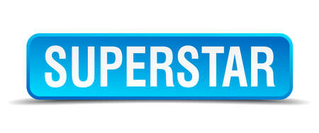 superstar: Superstar blue 3d realistic square isolated button
