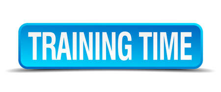 time square: Training time blue 3d realistic square isolated button Illustration