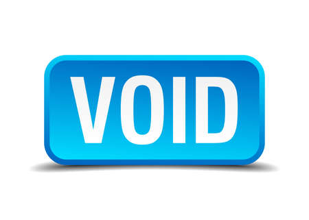 void: Void blue 3d realistic square isolated button Illustration