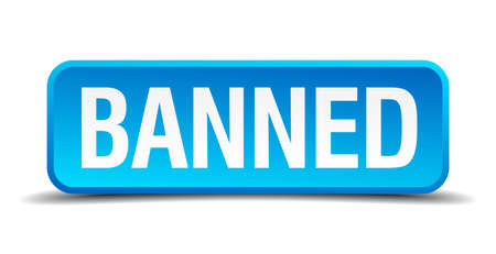 plagiarism: banned blue 3d realistic square isolated button Illustration