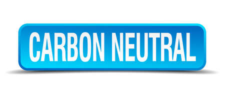 carbon neutral: carbon neutral blue 3d realistic square isolated button