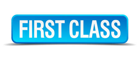 first class blue 3d realistic square isolated button Vector