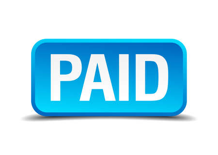 Paid blue 3d realistic square isolated button Vector