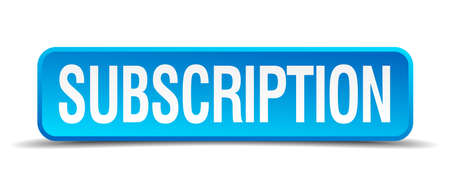 became: Subscription blue 3d realistic square isolated button