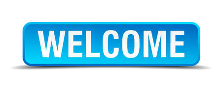 visit us: Welcome blue 3d realistic square isolated button