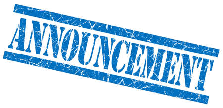 aankondiging blauw vierkant grungy geïsoleerde rubber stamp Stockfoto