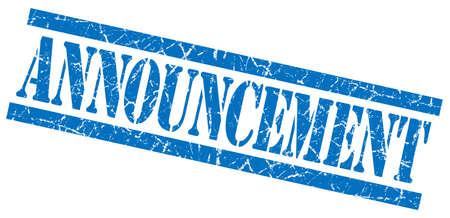 aankondiging blauw vierkant grungy geïsoleerde rubber stamp