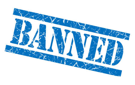 grungy isolated: banned blue square grungy isolated rubber stamp Stock Photo