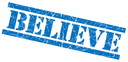 disbelieve: believe blue square grungy isolated rubber stamp Stock Photo