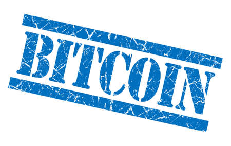 grungy isolated: bitcoin blue square grungy isolated rubber stamp