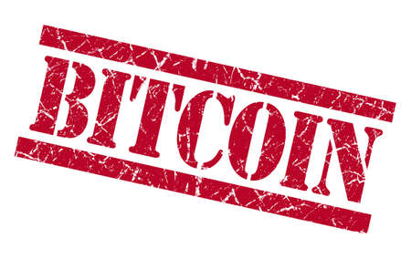 grungy isolated: bitcoin red square grungy isolated rubber stamp